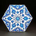 Rare Iznik hexagonal tile, Turkey, circa <b>1540</b>-1545
