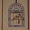 Carte Carte à oiseau en <b>vitrail</b>