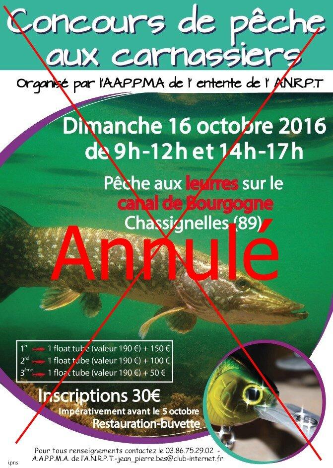 Annulation du concours carnassiers à Chassignelles, prévu le dimanche 16 octobre 2016 !!!