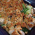 Crumble de jeunes légumes au saumon