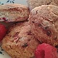 Raspberry and almond scones
