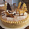 Gâteau de savoie, crème pâtissière pralin & poires (décor noël)