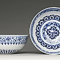 A pair of ming-style blue and white 'mantouxin' bowls, qing dynasty, yongzheng period