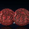 A finely carved Ming cinnabar lacquer <b>box</b> <b>and</b> <b>cover</b>, Ming dynasty, 16th-17th century