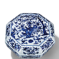 A blue <b>and</b> white 'pheasant <b>and</b> peony' octagonal box <b>and</b> cover, <b>Jiajing</b> <b>six</b>-<b>character</b> <b>mark</b> <b>and</b> <b>of</b> <b>the</b> <b>period</b> (1522-1566)