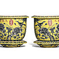 A pair of<b>dayazhai</b>yellow-groundgrisaille-decorated jardinieres and stands, Guangxu period (1875-1908)
