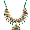 A diamond and <b>carved</b> <b>emerald</b> enamelled necklace, India, 19th-20th century