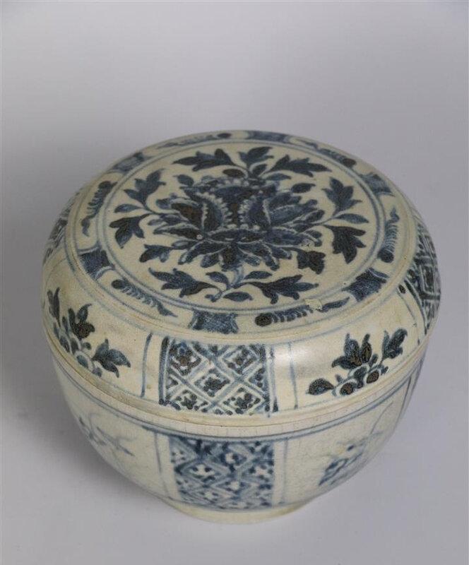 Boîte couverte en porcelaine bleu blanc, Vietnam, XVIème siècle
