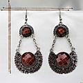 Boucles d'Oreilles Style Tibétain Kali Perle Et Strass <b>Marron</b> Argent du Tibet