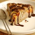 Gâteau hyper moelleux aux noisettes, pomme, butternut, quatre-epices & coulis chocolat-caramel au beurre sale