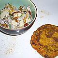 Agneau épicé aux amandes et sa galette de potiron et petits pois au curry
