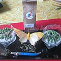 Verrines de petits pois à la crème et à la menthe