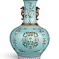 A very rare famille-rose cloisonné-<b>imitation</b> bottle vase, Qing dynasty, Qianlong period (1736-1795)
