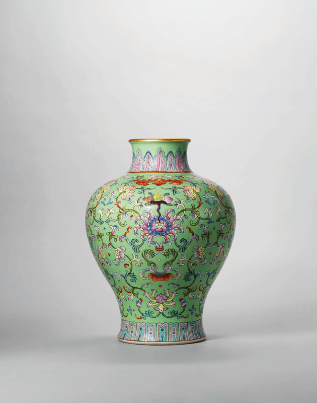 A lime-green ground famille rose vase, meiping, Qianlong six-character seal mark in iron-red and of the period (1736-1795)