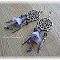 Boucles d'oreilles attrape rêves printanières, mauve, violet, argenté.