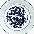 A superbly painted rare blue <b>and</b> white 'dragon' brush washer, <b>Xuande</b> <b>mark</b> <b>and</b> <b>period</b> (1426–1435)