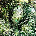 tableau peinture jardin nature herbes et arbres landscape oil painting romantic garden light valerie albertosi