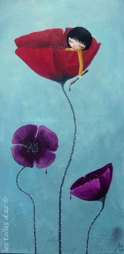 Painted poppies 40x80