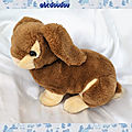 Doudou Peluche Lapin <b>Marron</b> Et Beige Vintage CP International