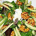 Salade gourmande avocat crevettes marinées au curry