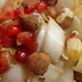 Salade d'endive revisitée : grenade, noisettes et huile d'argan