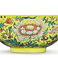 A yellow-ground famille-rose 'floral' bowl, daoguang seal mark and period (1821-1850)