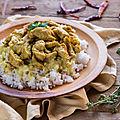 Emincé de poulet au riz et à la crème de <b>coco</b>