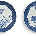 Two rare powder-blue-ground floral dishes, qing dynasty, kangxi period, circa 1720