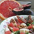 Salade de mâche, figues, pamplemousse... (7 pp par personne)