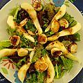 Salade verte aux saint jacques et poires