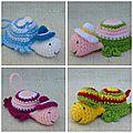 Petites tortues au crochet au chapeau pour mamyjo