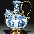 A blue and white kendi, Ming Dynasty, Wanli Period, with <b>German</b> <b>silver</b>-<b>gilt</b> mounts, Augsburg or Nuremberg, early 17th century