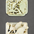 Two pale celadon jade reticulated 'geese' plaques, Yuan-Ming Dynasty (1279-1644)