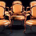 Suite de six <b>fauteuils</b> en <b>cabriolet</b> par Louis Delanois. Paris, époque Louis XVI