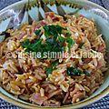Poêlée de riz au jambon et mozzarella