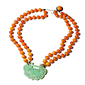 Courtly Amber Necklace with Jade <b>Pendant</b>, China, Qing Dynasty (1644-1912) – around 1900