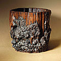 A rare chenxiangmu <b>brush</b> <b>pot</b> carved with prunus, Late Ming dynasty, 17th century