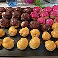 Petits choux aux framboises à la vanille et au chocolat