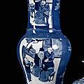 An underglaze blue decorated <b>yenyen</b> vase with scenes of scholars, 19th century