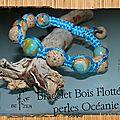 bracelet bois flotté et perles océanie vue 2