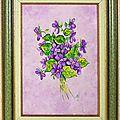 Bouquet de violettes acylique vernis 1F 16x22cm carton toilé Encadré
