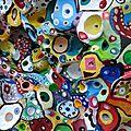 Hervé THAREL SCHMIMBLOCK'S erda 2015 - acrylique sur argile Ø ± 30cm détail2