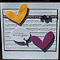 De l'embossage ... des coeurs ... un noeud ... du recyclage ... une carte juste pour le plaisir de faire plaisir !