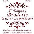 Festival de la broderie de compiègne : 13, 14 et 15 septembre 2013