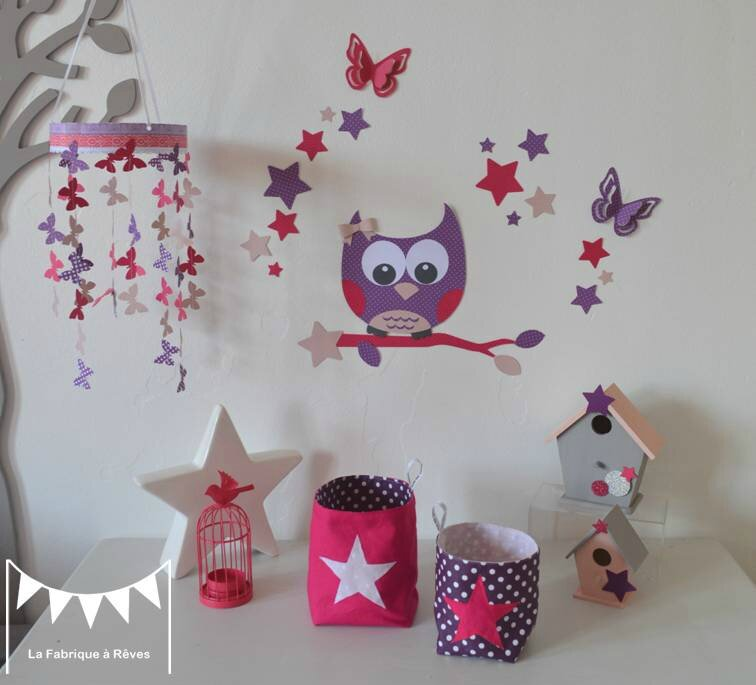 d coration chambre enfant b b fille rose fuchsia violet rose poudr hibou toiles papillons 2. Black Bedroom Furniture Sets. Home Design Ideas