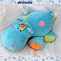 Doudou Peluche Hippopotame <b>Bleu</b> Avec Ronds Ocamile