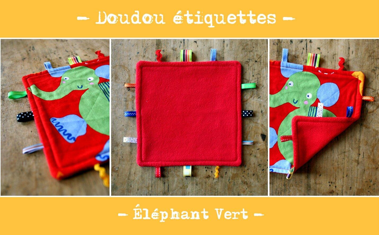 Doudou éléphant vert