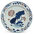 Two large <b>underglaze</b> <b>blue</b> <b>and</b> <b>copper</b>-<b>red</b> 'flower' dishes, Kangxi period (1662-1722)