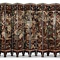 A twelve-panel Coromandel lacquer screen. Qing Dynasty, Kangxi period, dated <b>Gengchen</b> <b>year</b>, corresponding to 1700