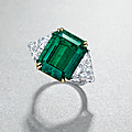 A 10.31 carats colombian emerald and diamond ring, by van cleef & arpels